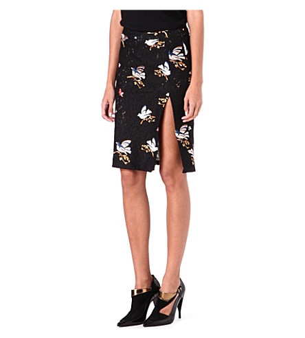 NO. 21 Lace bird-motif pencil skirt (Black