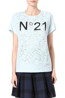NO. 21 Lace-front t-shirt