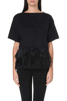 NO. 21 Feather-embellished T-shirt