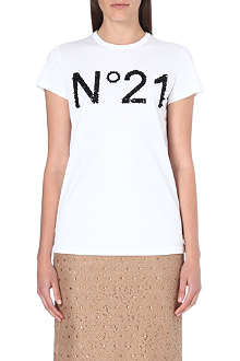 NO. 21 Sequin-detail logo t-shirt
