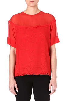 NO. 21 Lace and silk top