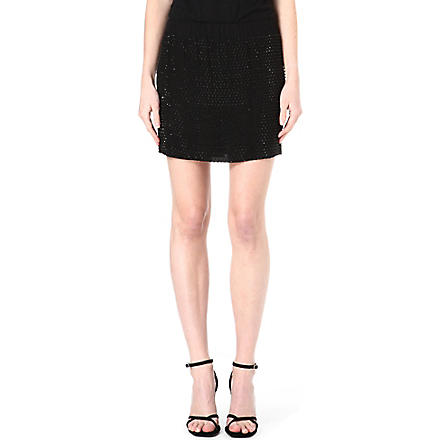 L'AGENCE Beaded mini skirt (Blk+/+blk