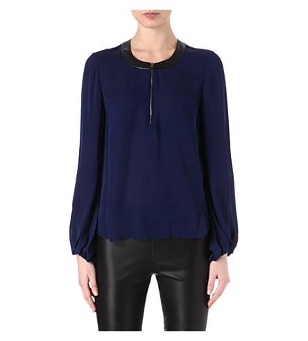 L'AGENCE Zip detail silk blouse (Sapphire