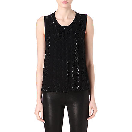 L'AGENCE Embellished silk top (Blk / blk
