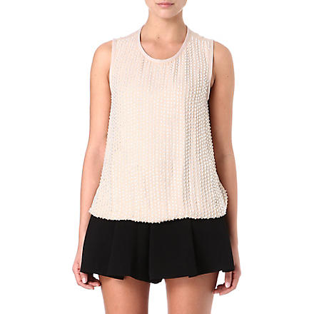 L'AGENCE Embellished silk top (Nude / crystal