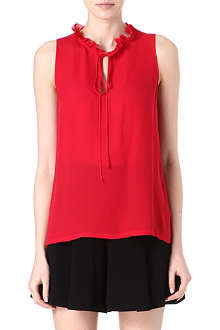 L'AGENCE Ruffled-neckline silk top
