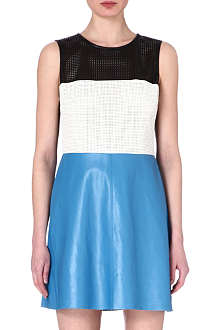L'AGENCE Perforated colour block leather dress
