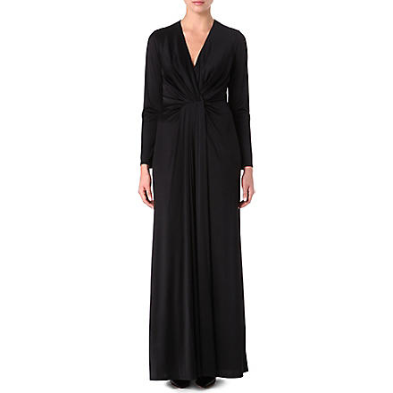 L'AGENCE Long-sleeved satin pleated gown (Blk