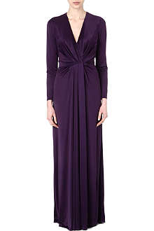 L'AGENCE Long-sleeved satin pleated gown