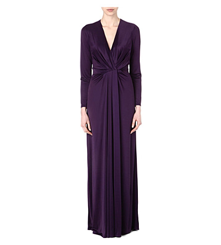 L'AGENCE Long-sleeved satin pleated gown (Purple