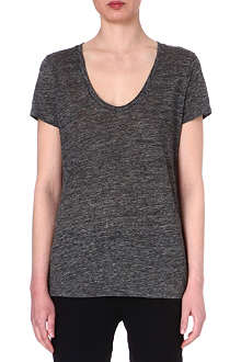 L'AGENCE Scoop-neck linen t-shirt