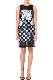 TIBI Rococo checkerboard silk dress
