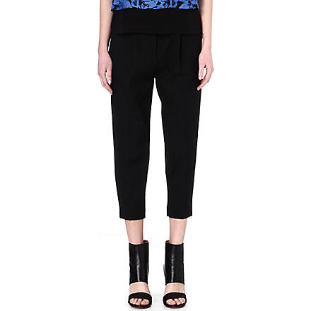 TIBI Cropped pleated trousers (Black