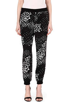 TIBI Leopard-print silk jogging bottoms