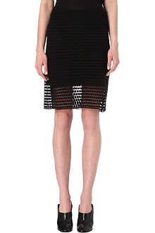 TIBI Geometric-lace pencil skirt