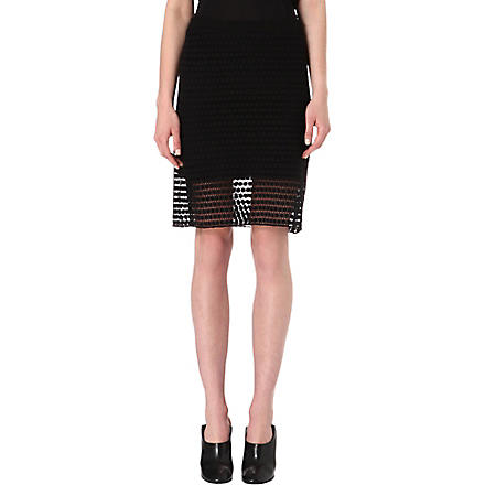 TIBI Geometric-lace pencil skirt (Black