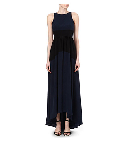 TIBI Colour-block silk maxi dress (Navy/ black