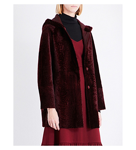DROME Hooded leather and shaved-shearling coat (Burgundy