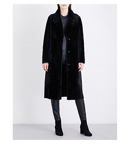 DROME Single-breasted reversible shearling and leather coat (Black