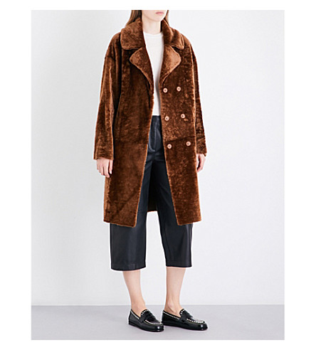 DROME Double-breasted reversible shearling and leather coat (Dark+sand