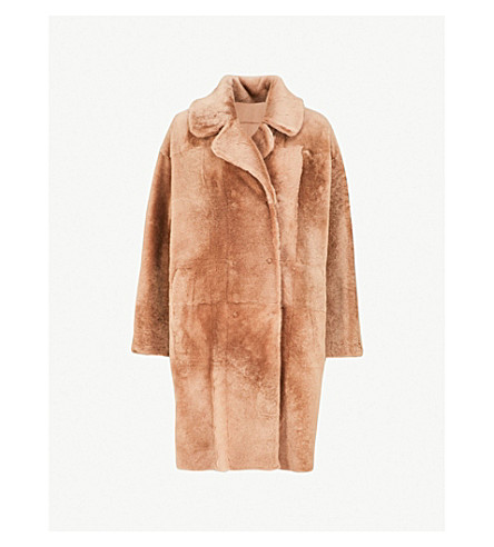 DROME Double-breasted reversible shearling and leather coat (Camel