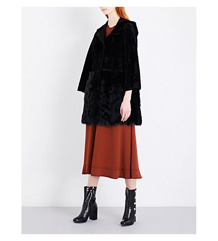DROME Hooded shearling coat (Black