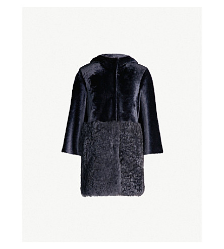 DROME Reversible shearling and leather hooded coat (Storm