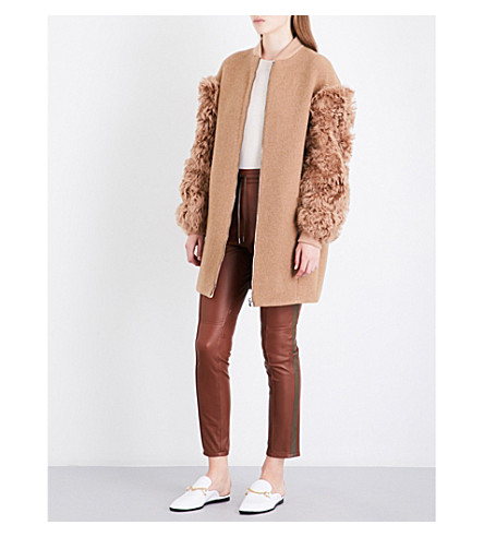 DROME Shearling-sleeve wool-blend coat (Capucine