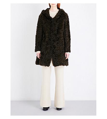 DROME Hooded shearling coat (Foliage