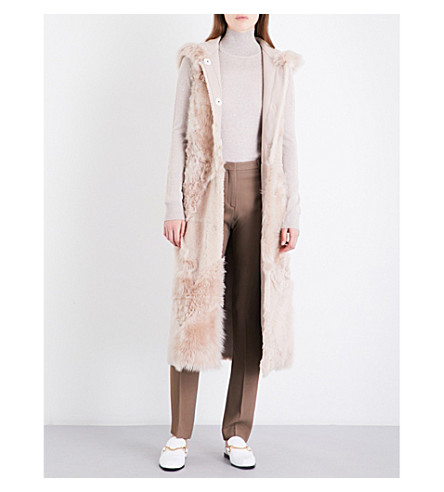 DROME Hooded reversible shearling and suede gilet (Smooth+pink