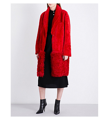 DROME Single-breasted shearling coat (Red