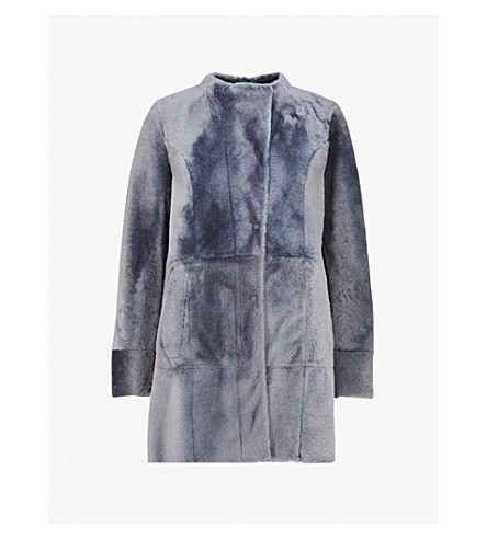 DROME Collarless reversible shearling and leather coat (Dusty blue