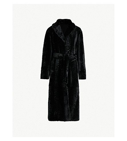 DROME Reversible shearling and leather wrap coat (Black