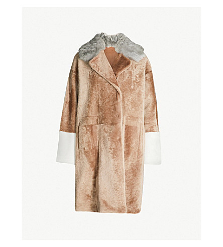 DROME Double-breasted reversible shearling and leather coat (Camel grey white