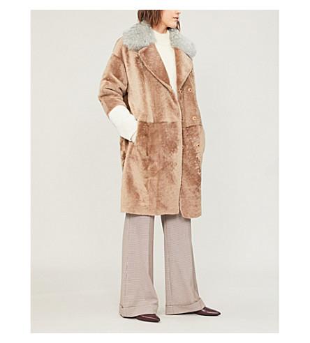 DROME 双排扣两面穿羊毛和皮大衣 (骆驼 + 灰 + 白