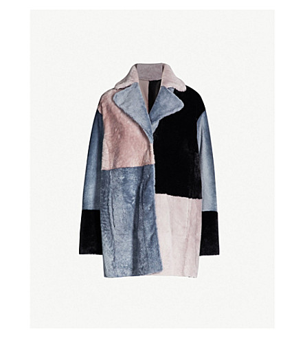 DROME Patchwork reversible shearling and leather coat (Grey black