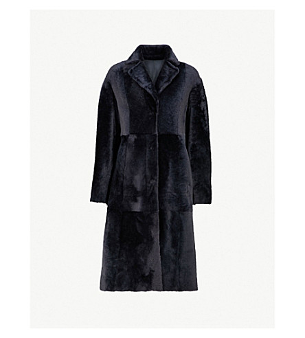 DROME Single-breasted reversible shearling and leather coat (Storm