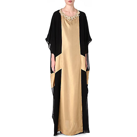 RAGHDA TARYAM Two-tone maxi dress (Gold