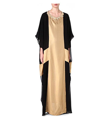 RAGHDA TARYAM Two-tone maxi dress (Gold