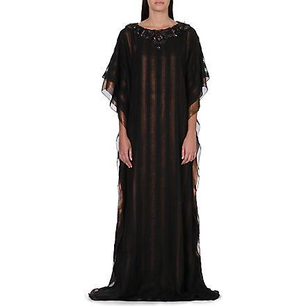 RAGHDA TARYAM Embellished chiffon kaftan (Gold/black