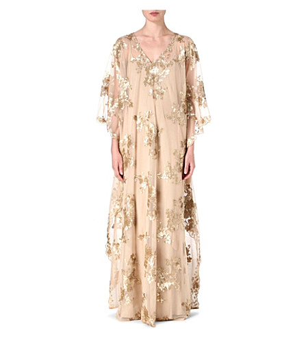 RAGHDA TARYAM Embellished maxi dress (Nude