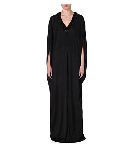 RAGHDA TARYAM Embellished kaftan (Black/silve