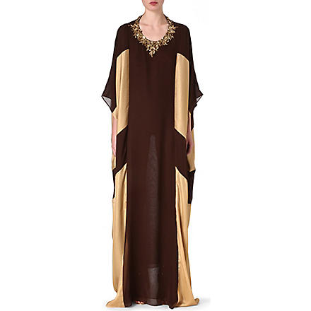 RAGHDA TARYAM Two-tone maxi dress (Brown/gold