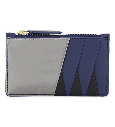 DIANE VON FURSTENBERG Zip top leather card holder (Black/anthracite/midnt