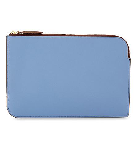 DIANE VON FURSTENBERG Two-tone leather pouch (Powder+blue/dusty+pink