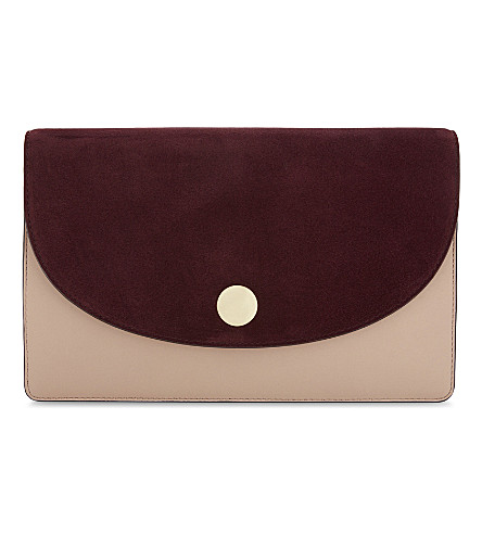 DIANE VON FURSTENBERG Leather and suede clutch (Bordeaux/dusty+pink