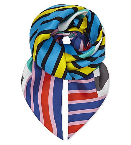 DIANE VON FURSTENBERG Stripe silk scarf (Saxon+stripe+aquamarine