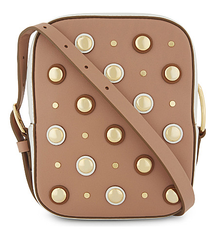 DIANE VON FURSTENBERG Flat stud leather camera bag (Camel/ivory