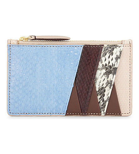 DIANE VON FURSTENBERG Python-embossed leather card holder (Blue/bordeaux/pink