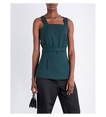 ROSETTA GETTY Apron stretch-crepe wrap top (Juniper